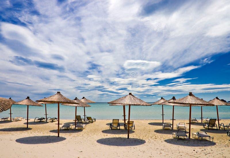 Beach brollies stock image