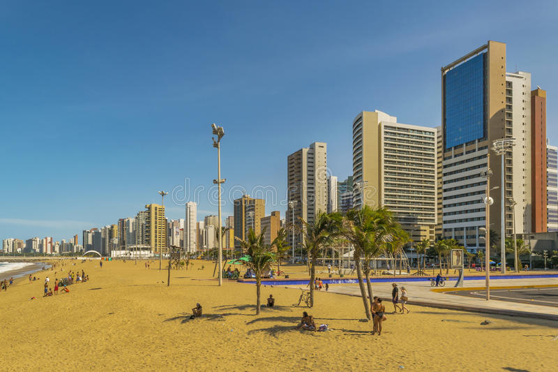 Beach and Buildings of Fortaleza Brazil. FORTALEZA, BRAZIL, DECEMBER - 2015 - Cityscape scene depicting the coastline and beach surrounded by modern modern stock photo