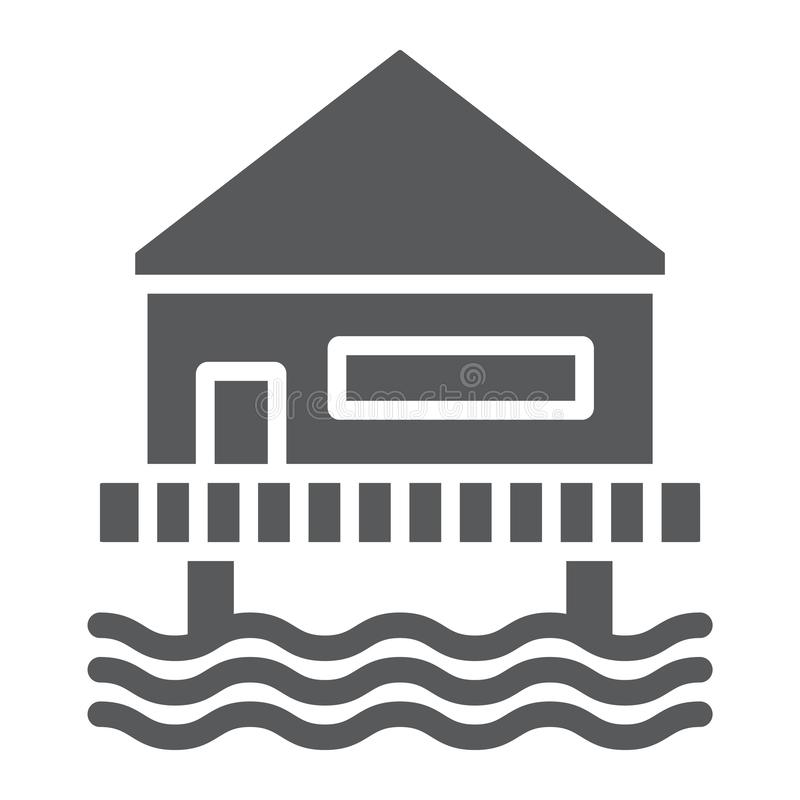 Beach bungalow glyph icon, seaside and hut, beach house sign, vector graphics, a solid pattern on a white background. Beach bungalow glyph icon, seaside and hut royalty free illustration