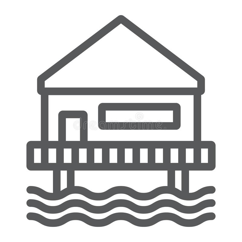 Beach bungalow line icon, seaside and hut, beach house sign, vector graphics, a linear pattern on a white background. Beach bungalow line icon, seaside and hut stock illustration