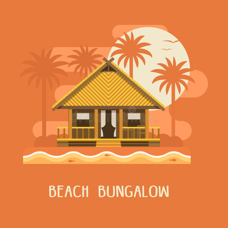 Beach Bungalow Poster. Summer beach bungalow by sunset. Wooden villa suite on palms and sea background. Romantic tropic house or small straw hut for rent or stock illustration