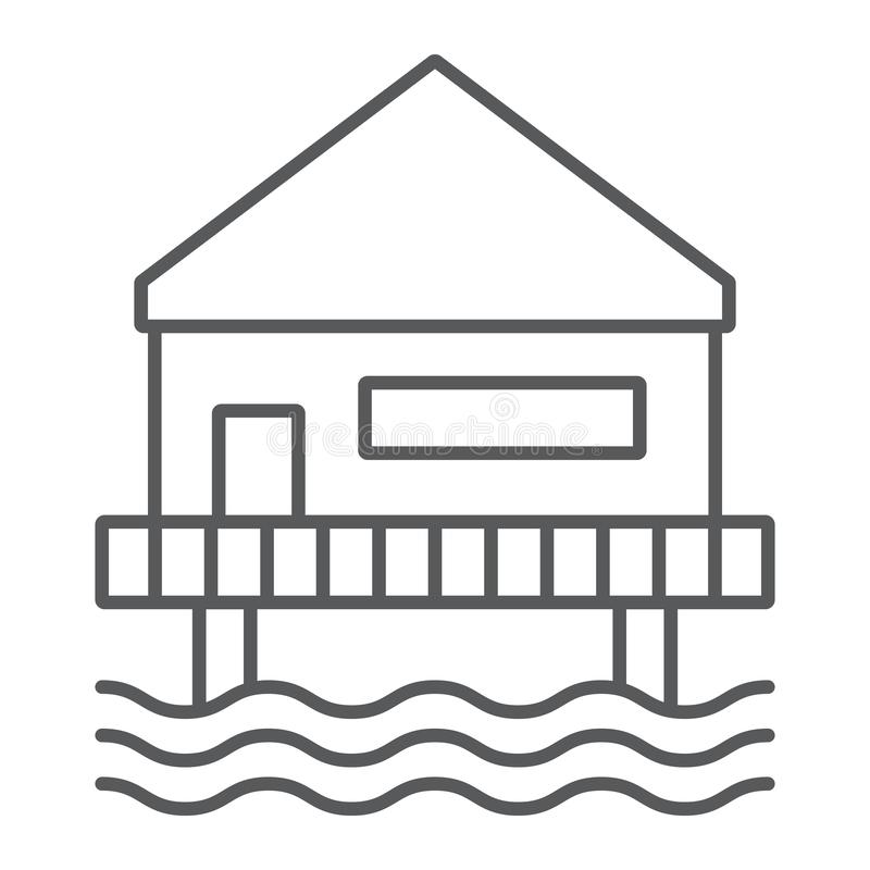 Beach bungalow thin line icon, seaside and hut, beach house sign, vector graphics, a linear pattern on a white. Background, eps 10 vector illustration