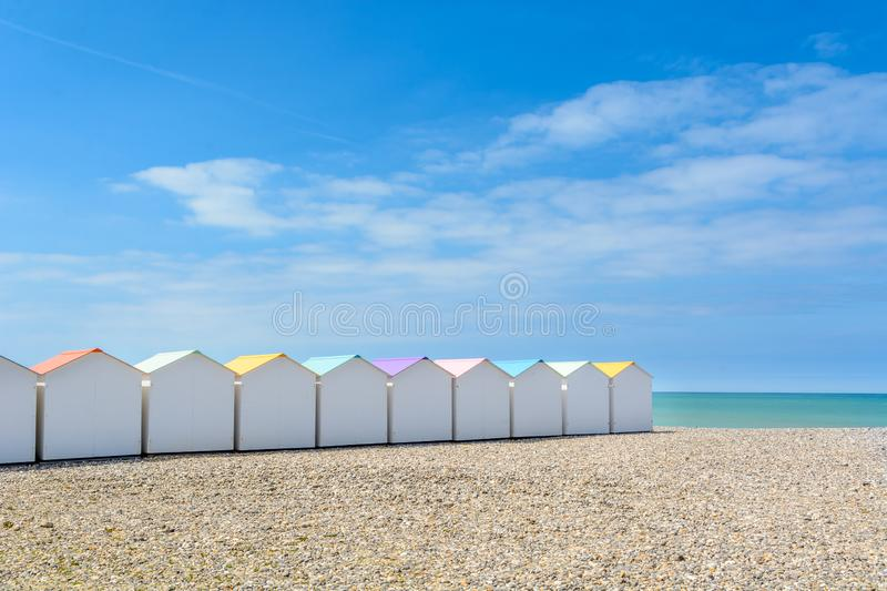 Beach cabins in Le Treport, France stock photos