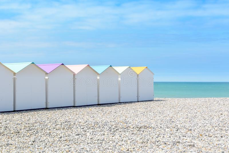 Beach cabins in Le Treport, France stock image