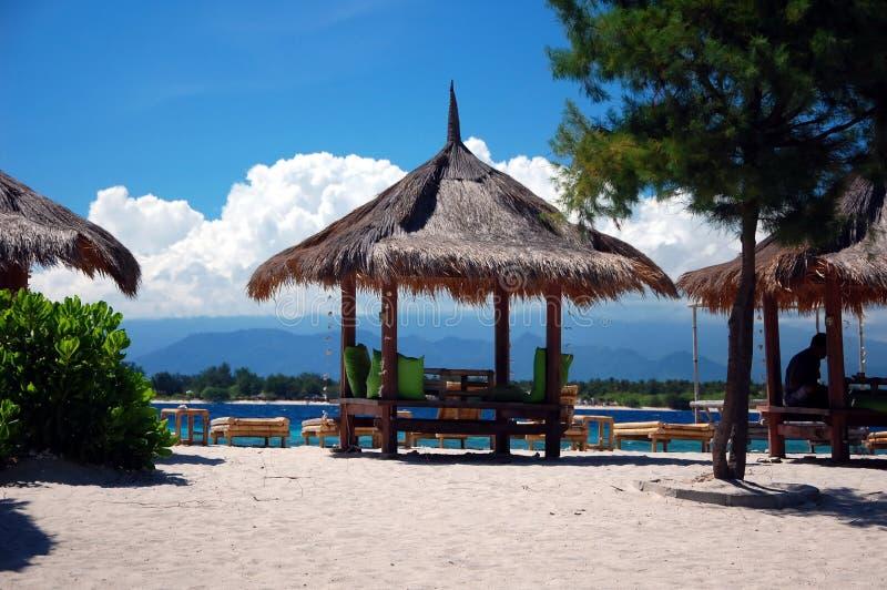 Beach cafe on the island. Gili Trawangan, Indonesia royalty free stock image