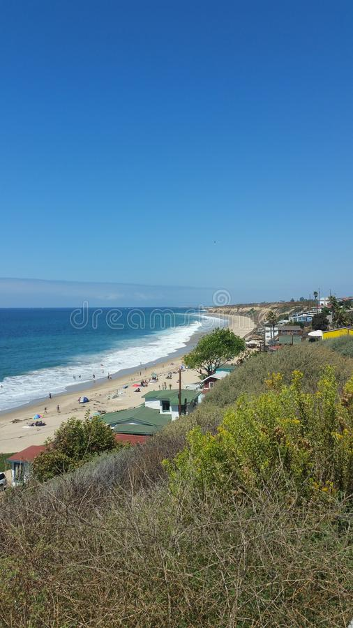 Beach. Cali california shore ocean sand green grass trees sun wave wqves waves surf shark stock nature background stock image