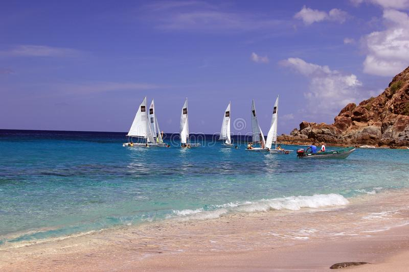 Beaches of St. Barts in the West Indies stock photos