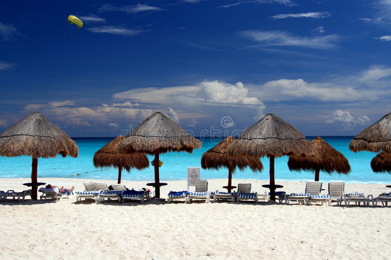 A beach in Cancun. A sunny day at the beach in Cancun, Mexico royalty free stock images