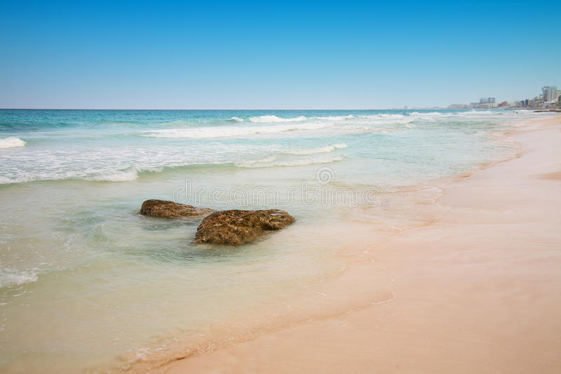 Beach at Cancun, Mexico royalty free stock image