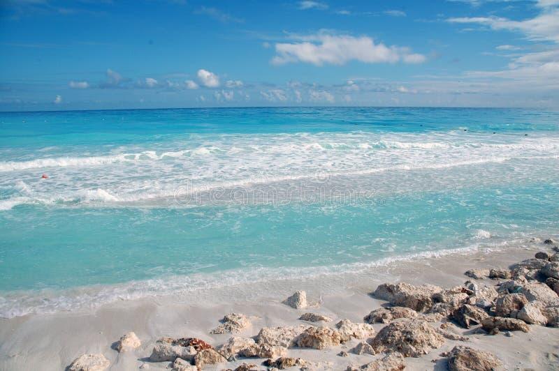 Beach Cancun / Mexico. White sandy beach with blue sky in mexico stock photos