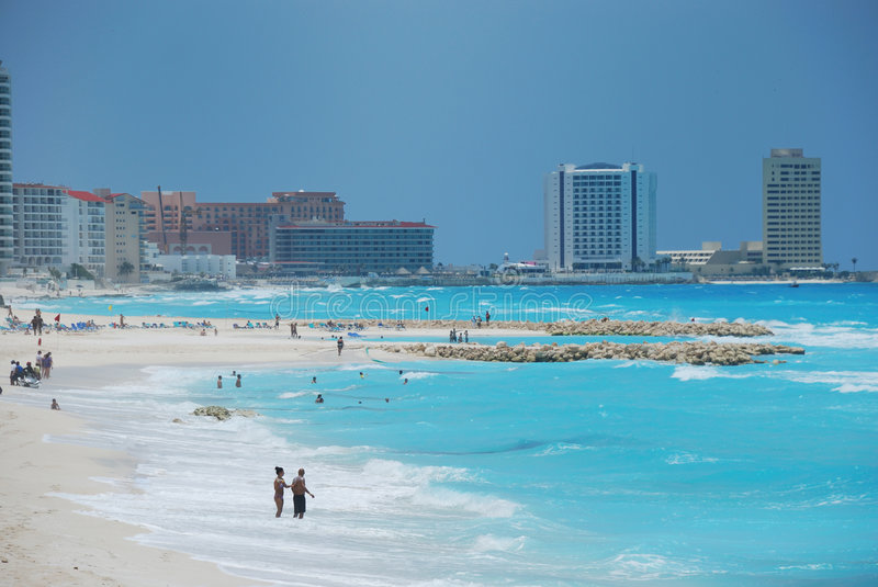 Beach in cancun mexico. Blue ocean in cancun mexico royalty free stock images