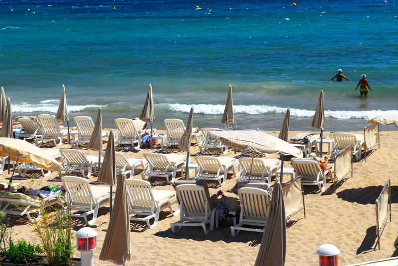 Beach in Cannes stock photography