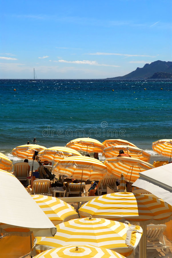 Beach in Cannes France stock photography
