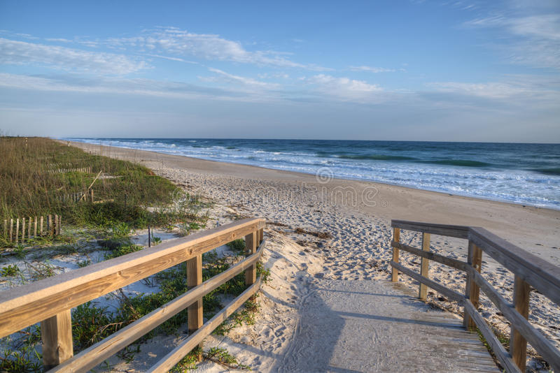 Beach at Cape Canaveral National Seashore. In the Morning stock photography