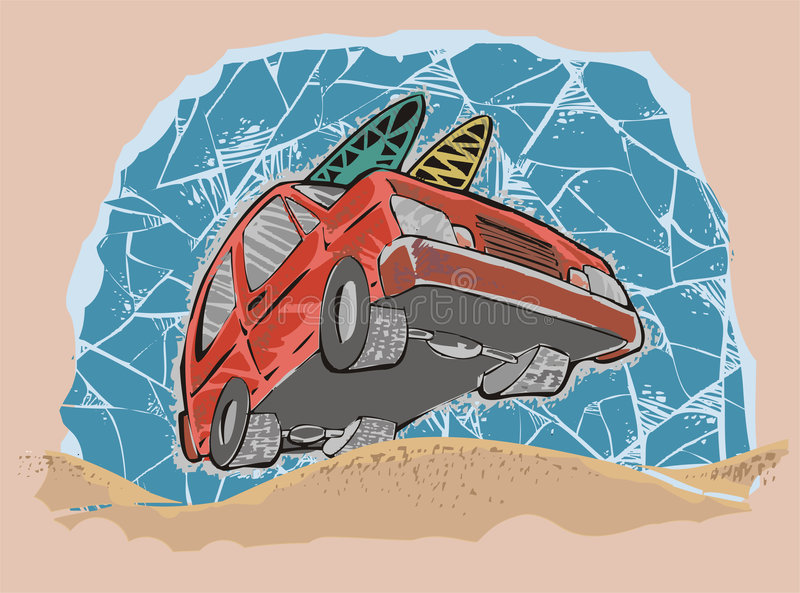 Beach car royalty free illustration