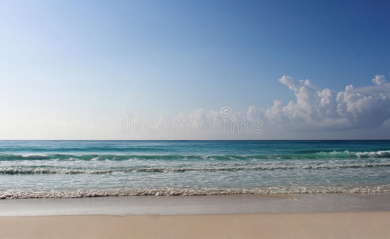 Beach and Caribbean sea, illustration. Sand and Caribbean sea, illustration royalty free stock photo