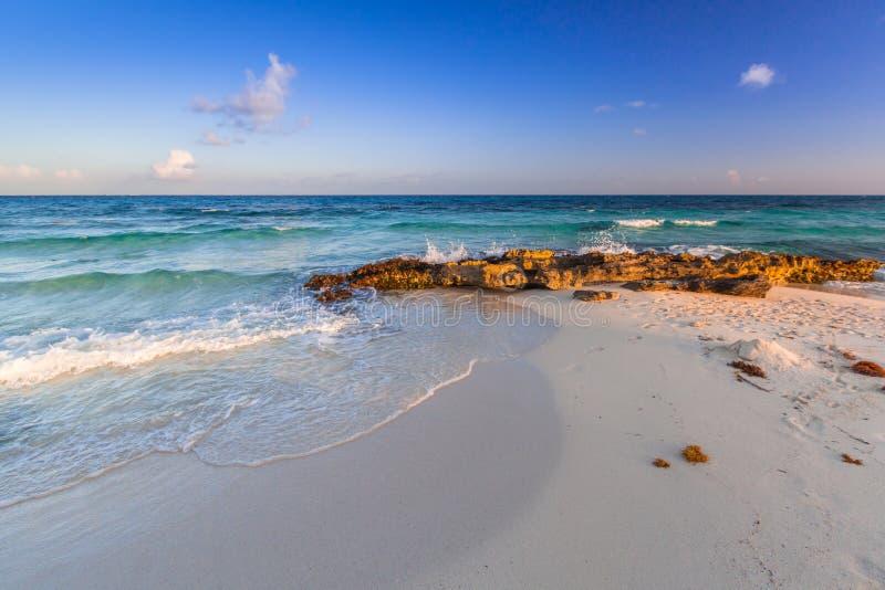 Beach at Caribbean sea in Playa del Carmen stock photos