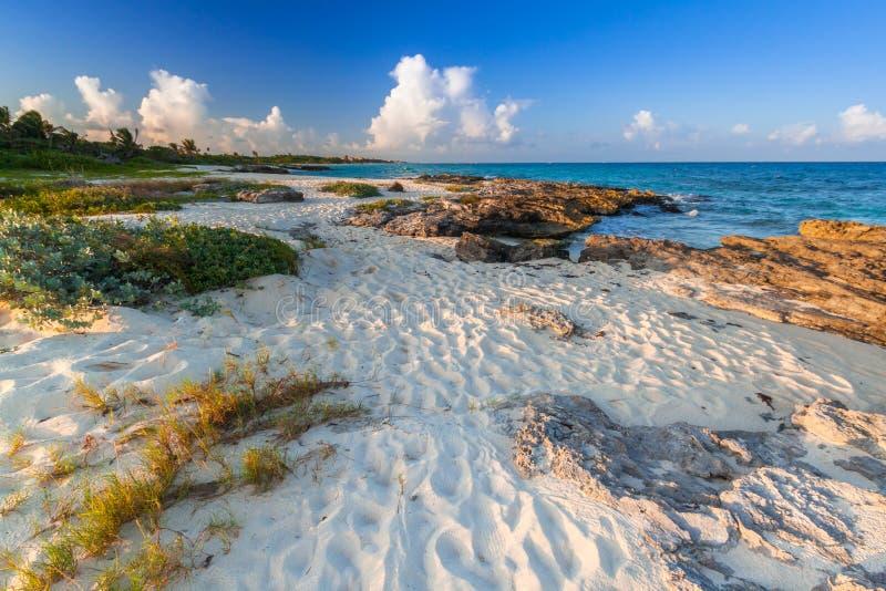 Beach at Caribbean sea in Playa del Carmen stock images