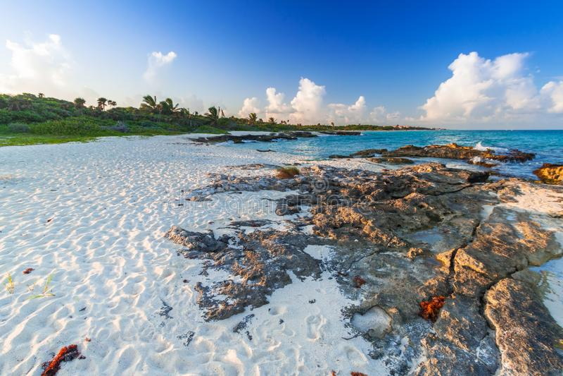 Beach at Caribbean sea in Playa del Carmen stock image