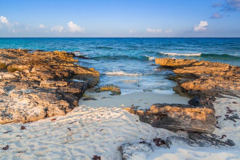 Beach at Caribbean sea in Playa del Carmen stock photo