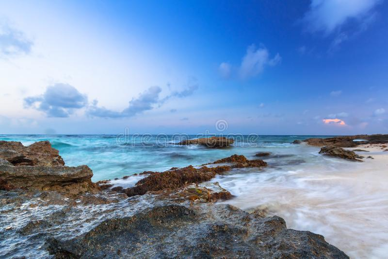 Beach at Caribbean sea in Playa del Carmen royalty free stock photos