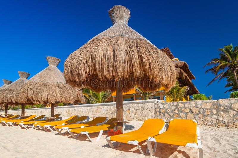 Caribbean Sea beach in Playa del Carmen. Beach at Caribbean sea in Playa del Carmen, Mexico stock photos