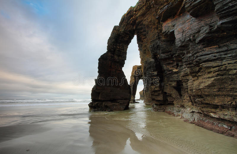 Beach of the Cathedrals in Ribadeo, Spain royalty free stock images