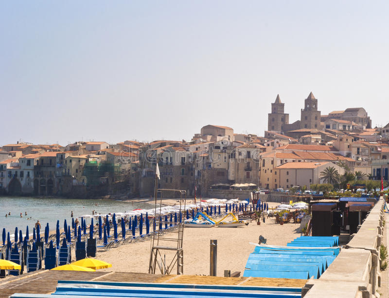 Download Beach of Cefalu.Sicily stock image. Image of houses, architecture - 25490393