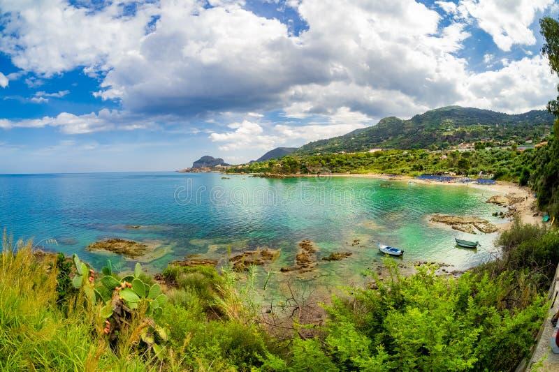 Beach in Cefalu, Sicily island. Summer holiday destination in Sicily island, Cefalu region, Italy royalty free stock photo