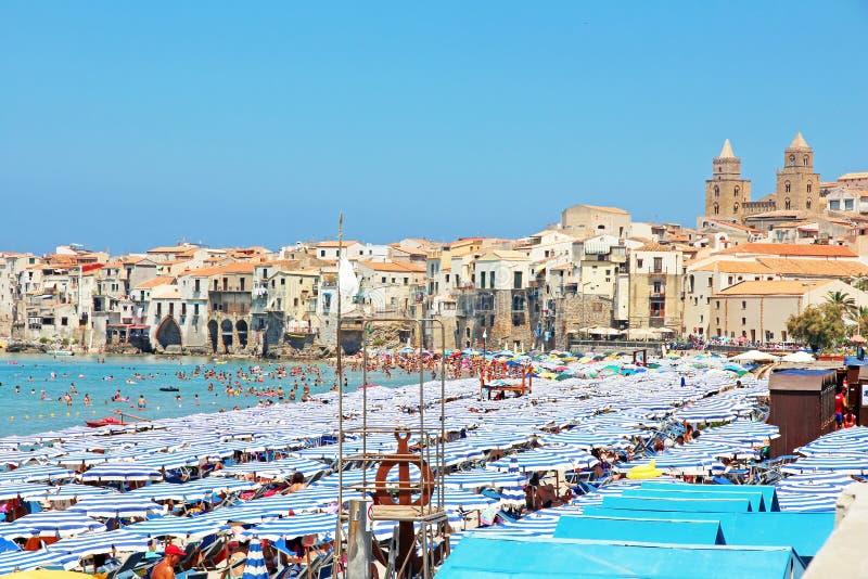 Beach Of Cefalu, Sicily stock photography
