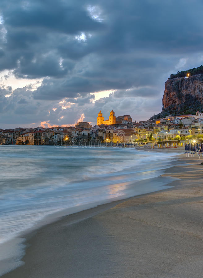 Download The Beach Of Cefalu Before Sunrise Stock Photo - Image of ocean, cathedral: 83702256