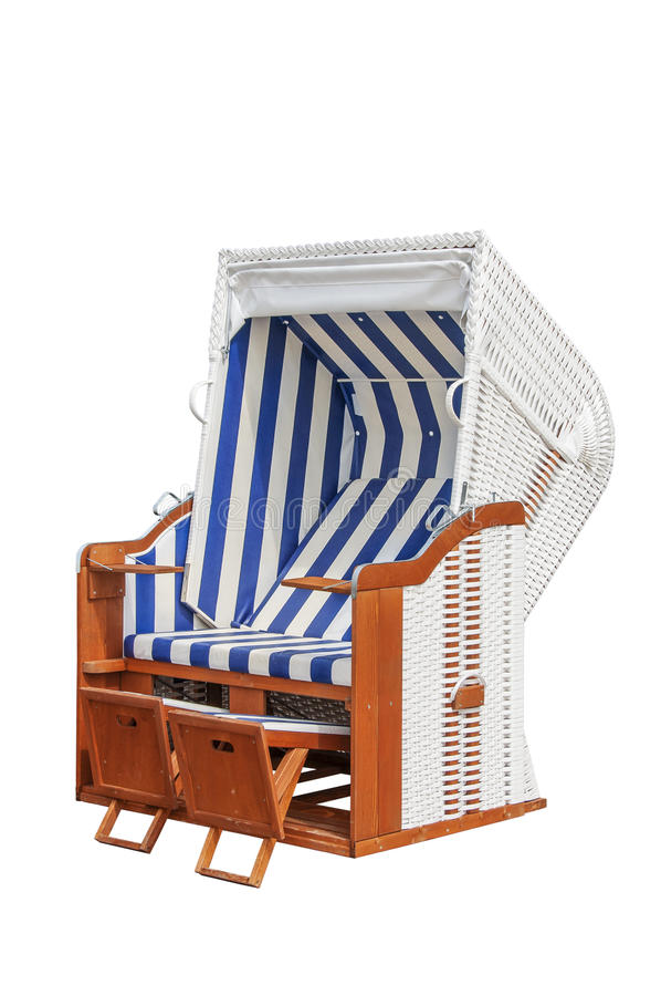 Beach chair. A beach chair, beach basket exempt royalty free stock photo