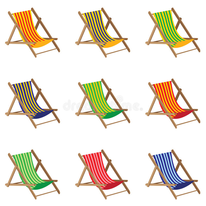 Beach chair. Colorful Beach chair on white background. Wooden Furniture. Wooden chairs stock illustration