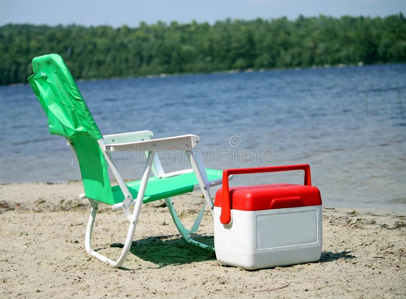 Beach Chair And Cooler Royalty Free Stock Photo