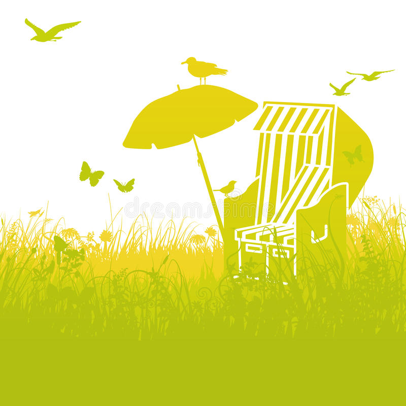 Beach chair in the grass and summer vector illustration