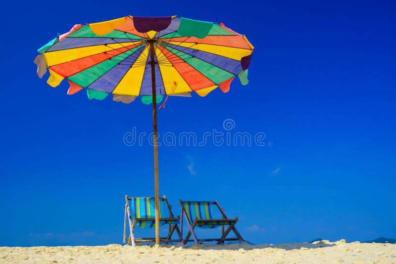 Beach chair on koh Khai island, Krabi, Thailand stock images