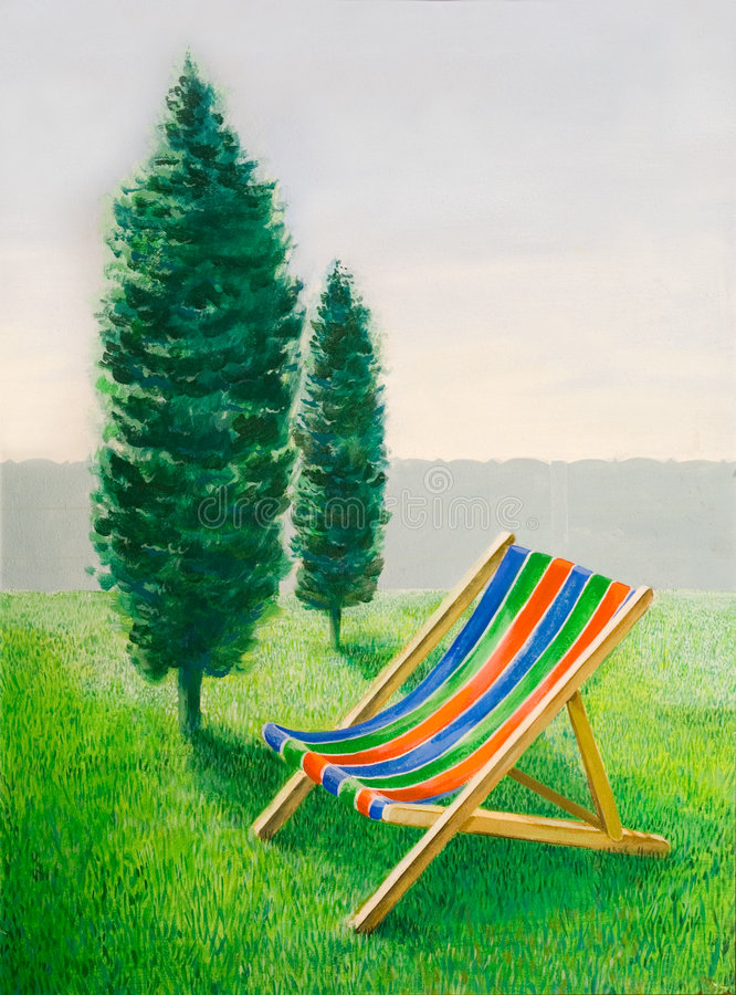 Download Beach chair in landscape stock illustration. Image of relaxing - 7460152