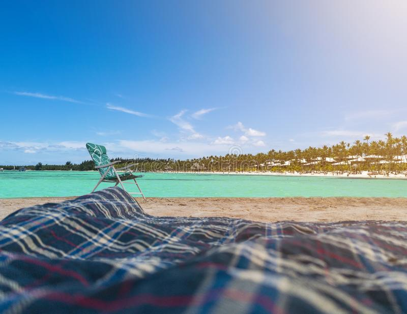 Beach chair on the sand with blue sky and summer ocean with turquoise water background. Summer, Vacation, Travel and Holiday. Concept stock images