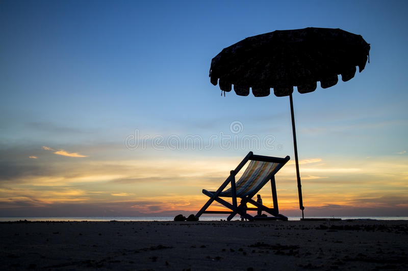Beach chair in sunset stock photo Image of chair coast 28342176