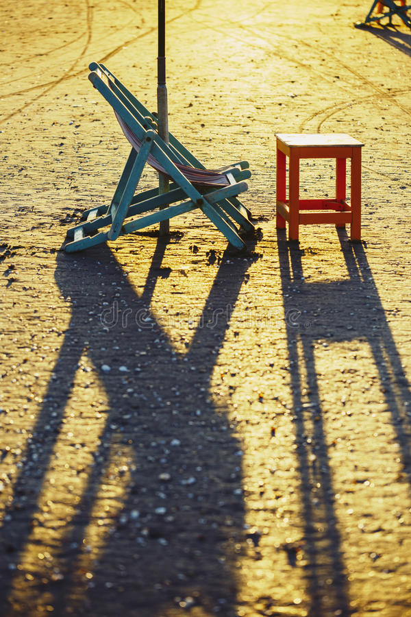 Beach chair and table, Damietta, Egypt.  stock images