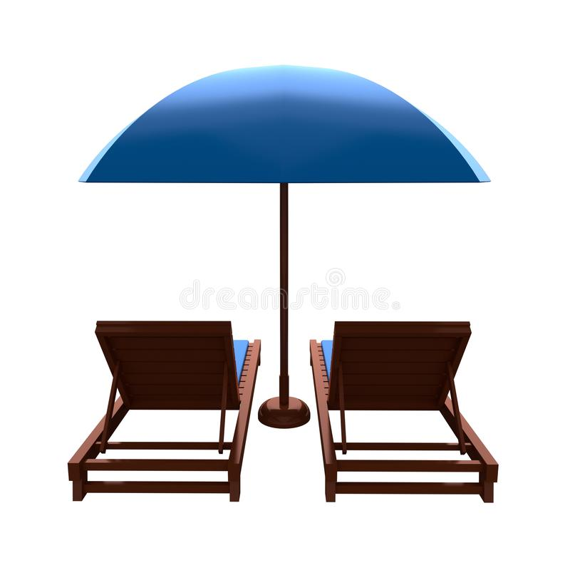 Beach chair and umbrella. Back view. 3d rendering. Beach chair and umbrella isolated on white background. Back view. 3d rendering royalty free stock images