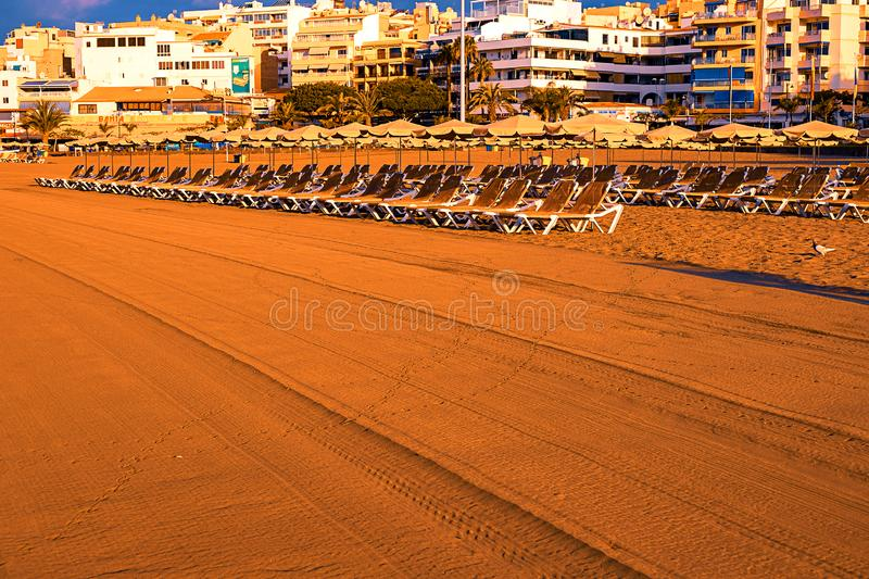 Beach chair with umbrella with blue sky on beautiful tropical beach,Relaxing time royalty free stock photography