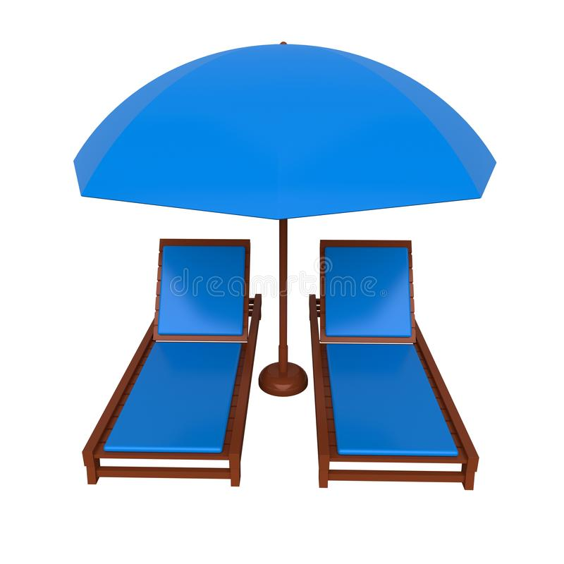 Beach chair and umbrella. 3d rendering. Beach chair and umbrella isolated on white background. 3d rendering stock photos