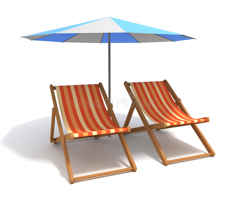 Beach Chairs. 3d render beach chairs isolated in white background vector illustration