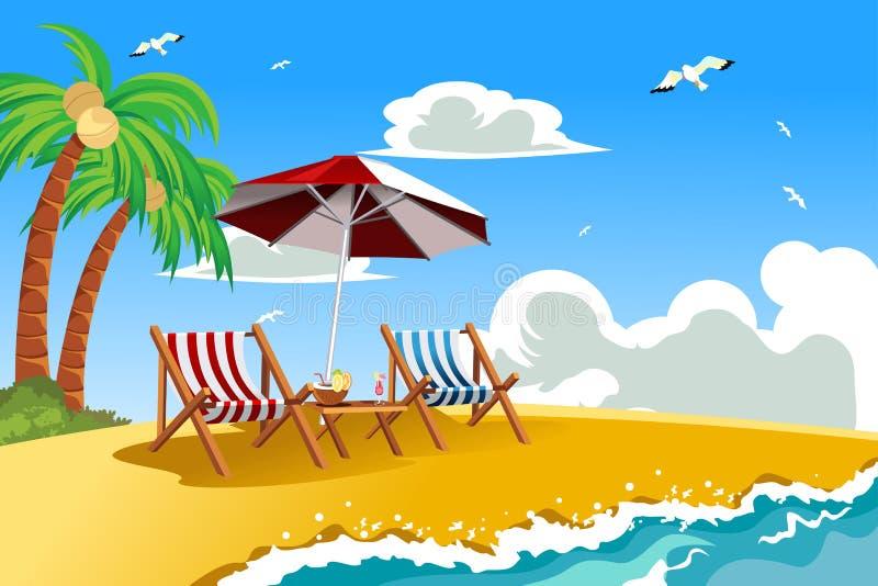 Beach chairs. A vector illustration of beach chairs on the tropical beach stock illustration