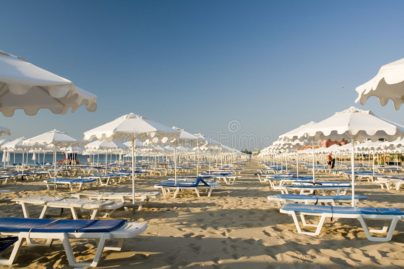 Download Beach chairs stock image. Image of shaded, blue, rows - 3008749