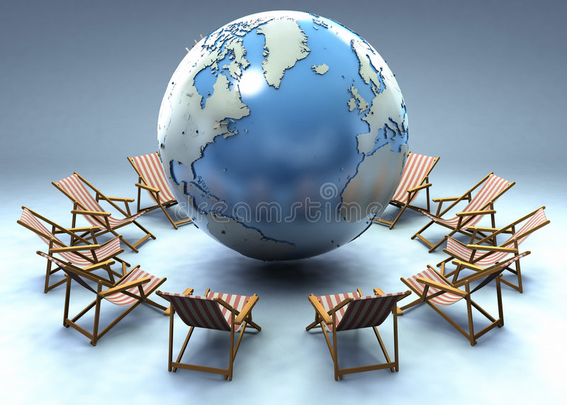 Download Beach Chairs Around The World Stock Illustration - Illustration: 4265253