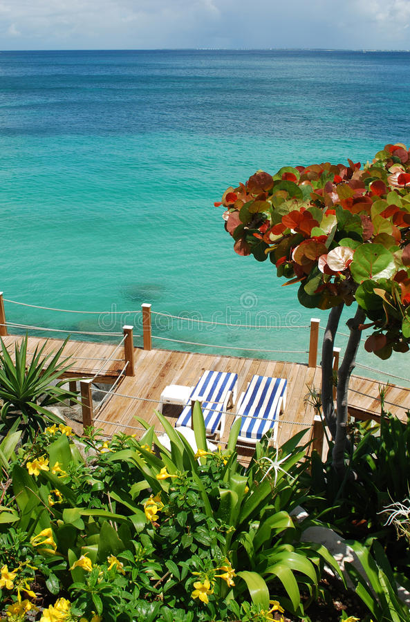 Download Beach chairs on a deck stock image. Image of beach, caribbean - 15388397
