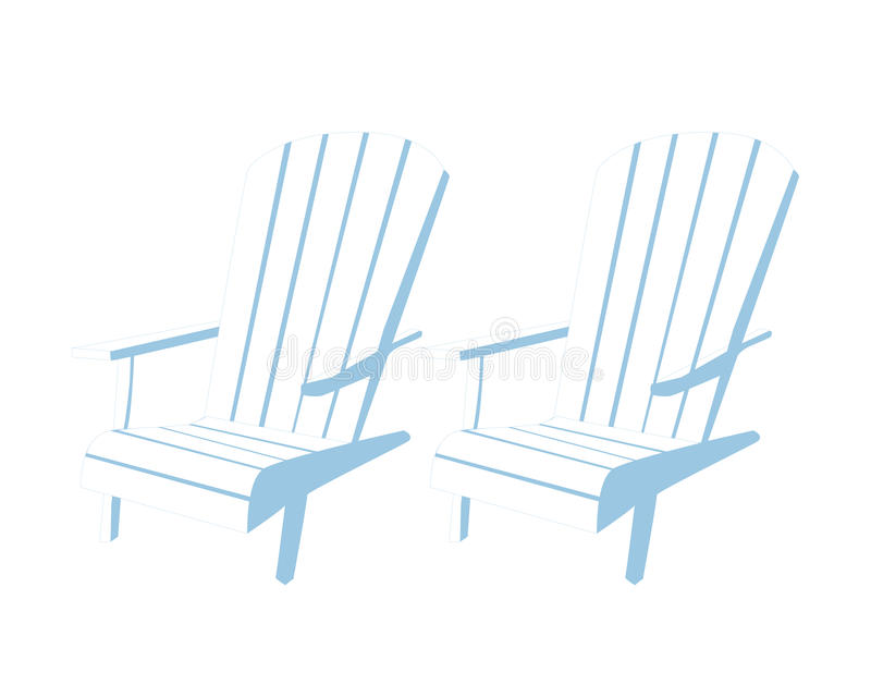 Beach chairs. Flexible chairs on the beach royalty free illustration