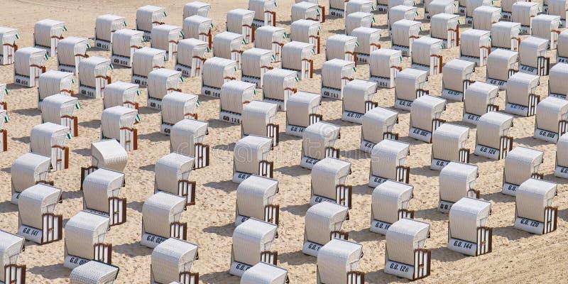 Beach chairs near Sellin Pier stock photos